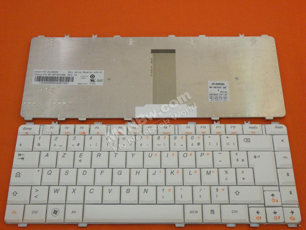 LENOVO Y450 Y450A Y450G Y550 Y550A WHITE NEW FR 25-008265 N3S-FR MP-08F76F0-686 25-008290 V-101020AK1 Laptop Keyboard (OEM-B)