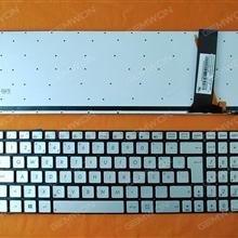 ASUS N56 N56V U500VZ N76 N76VM N76VJ SILVER(Backlit,With foil,Without FRAME,Win8) PO 0KNB0-6621SK00 Laptop Keyboard ( )