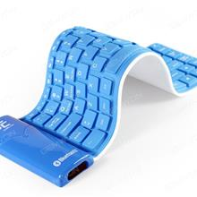 Portable Folding Wireless Bluetooth Silicone keyboard,Dust-proof and Waterproof Rechargeable,Blue Other KB-6116