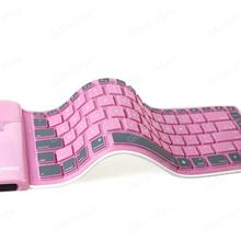 Portable Folding Wireless Bluetooth Silicone keyboard,Dust-proof and Waterproof Rechargeable,Pink Other KB-6116