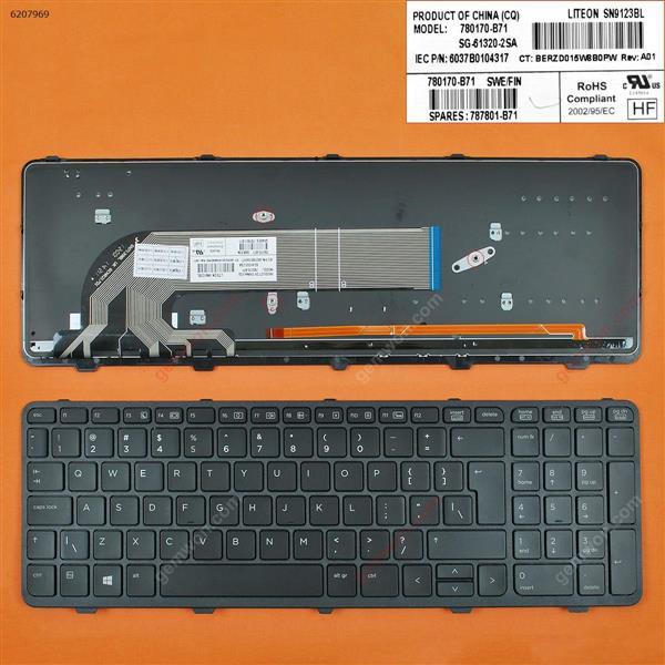 HP ProBook 450 G0 450 G1 455 G1 BLACK FRAME BLACK (Backlit,WIN8) UI V139502AS1 PK1315A2A00 Laptop Keyboard (OEM-B)