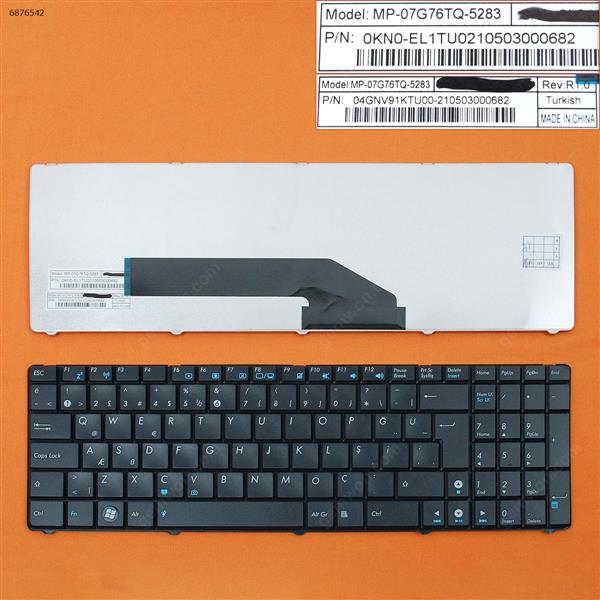 ASUS K50 BLACK TR 04GNV91KTU00-210503000794 Laptop Keyboard (OEM-B)