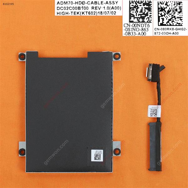 Hard Drive Disk Tray Caddy & Connector Cable For DELL Latitude 5480 E5480 Cover 80RK8 0NDT6