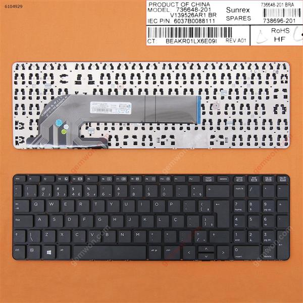 HP ProBook 450 G0 450 G1 455 G1 BLACK(without FRAME,without foil,For Win8) BR N/A Laptop Keyboard (OEM-B)