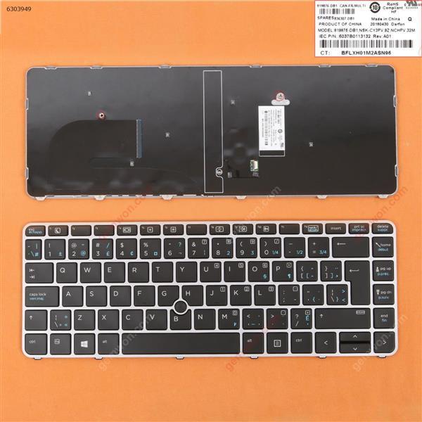 HP EliteBook 840 G3 SILVER FRAME BLACK WIN8 CA/CF N/A Laptop Keyboard (OEM-B)