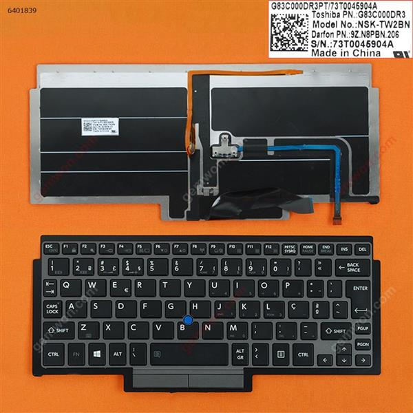 TOSHIBA Z10T GRAY FRAME BLACK(For Win8,Backlit,With Point Stick) PO N/A Laptop Keyboard (OEM-B)