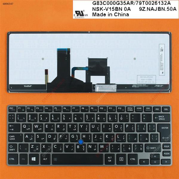 TOSHIBA Z30 GRAY FRAME BLACK(Backlit,For Win8,With Point stick) AR N/A Laptop Keyboard (OEM-B)