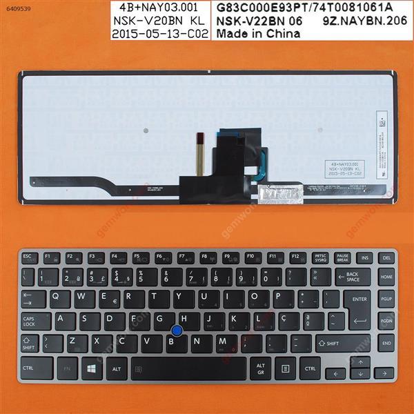 TOSHIBA Z40 GRAY FRAME BLACK (Backlit,With Point stick,Win8) PO 9Z.N7GBC.U0U BCUBC Laptop Keyboard (OEM-B)