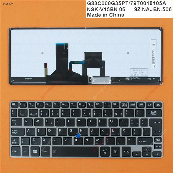 TOSHIBA Z30 GRAY FRAME BLACK(Backlit,For Win8,With Point stick) PO N/A Laptop Keyboard (OEM-B)