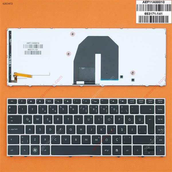 HP Probook 5330 5330M SILVER FRAME BLACK Backlit TR 9Z.N6TBQ.02M HY02M Laptop Keyboard (OEM-B)