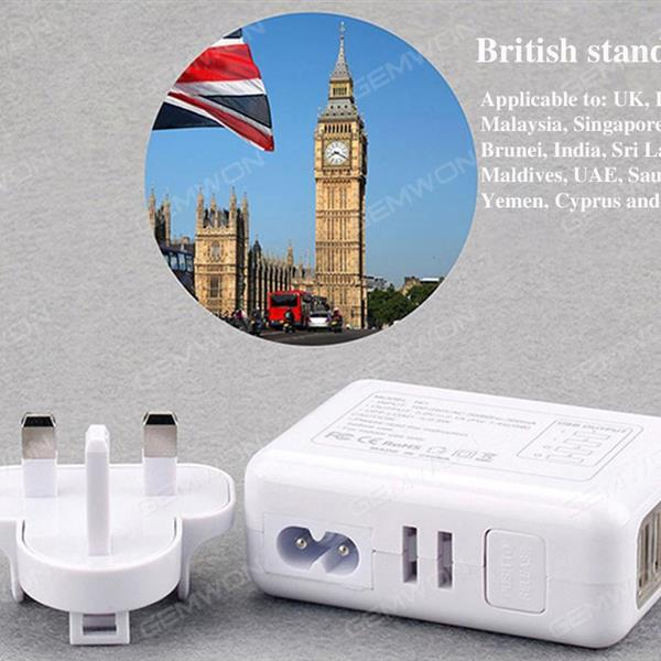 output 5v-2.1A , 4 USB ,Combination charge,Power shell conversion,uk ,white Charger & Data Cable N/A