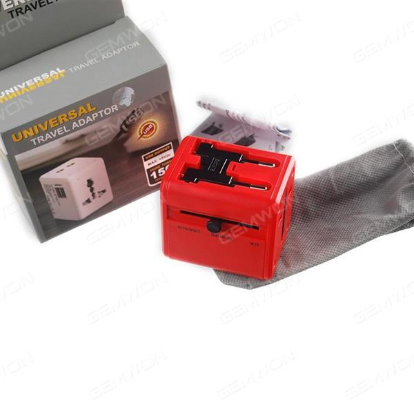 MULIT-Nation Travel , Adapter With USB charger ,2USB .,AC POWER Rating  6A max .100-240V.5V 1A.AU EU UA UK .RED Charger & Data Cable N/A