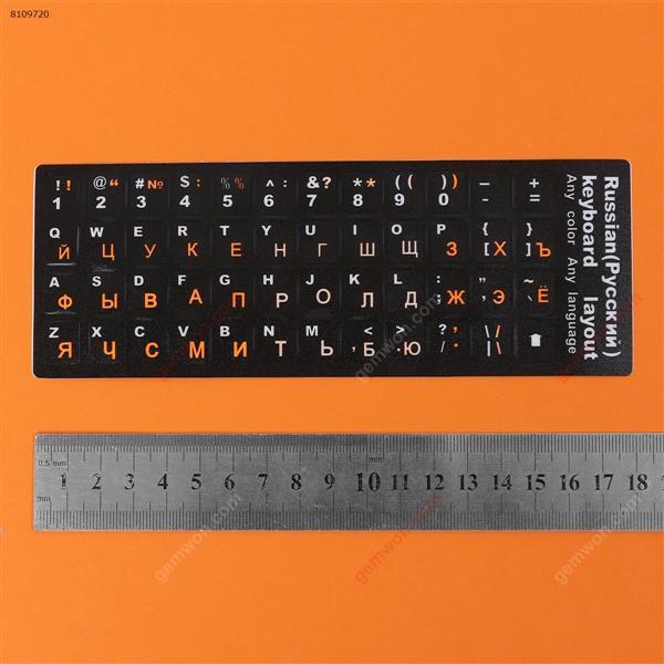 RU Keyboard Sticker,Black with orange letter. Change keyboard language layout by stick lables on keyboard keys. Sticker RU
