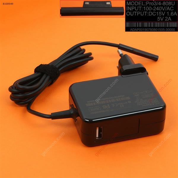 Microsoft 15V1.6A 5V2A 34W surface PRO 4(Wall Charger Portable Power Adapter)Plug:EU Laptop Adapter 15V1.6A 5V2A 34W