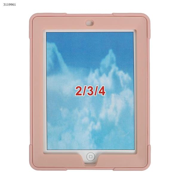 iPad 2/3/4 B contrast color protective cover, the latest silicone support three anti-protective cover, rose gold Case IPAD 2/3/4  B CONTRAST COLOR PROTECTIVE COVER