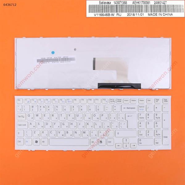 SONY VPC-EH WHITE FRAME WHITE Big Enter (reprint) RU SONY VPC-EH Laptop Keyboard (Reprint)