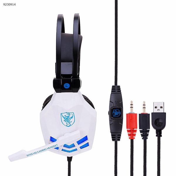 SY850MV vibration luminous Internet cafe computer headset esports game headset whiteblue Headset SY850MV