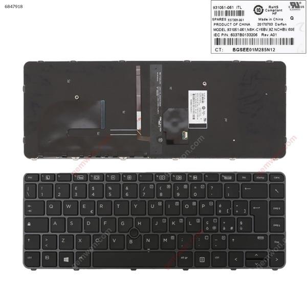 HP EliteBook 840 G3 GRAY FRAME BLACK (with point,Backlit,Win8) IT 6037B0133206 Laptop Keyboard (OEM-B)