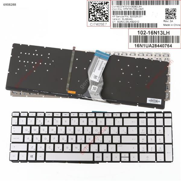 HP Pavilion 15-BS Silver (Without FRAME,Backlit)WIN8 RU N/A Laptop Keyboard (OEM-B)
