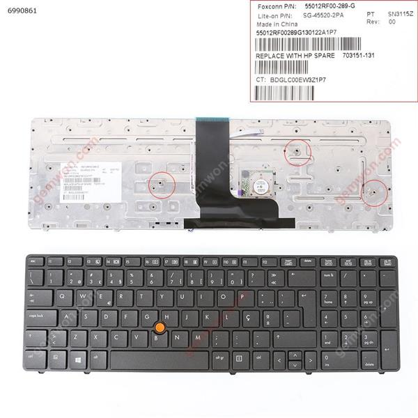 HP 8560W 8570W GRAY FRAME GRAY( With Point stick,For Win8)  PO N/A Laptop Keyboard (OEM-B)