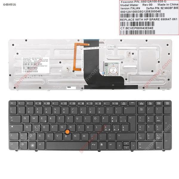 HP  8570W GRAY FRAME GRAY(With Point stick,Backlit) IT 8560W Laptop Keyboard (OEM-B)