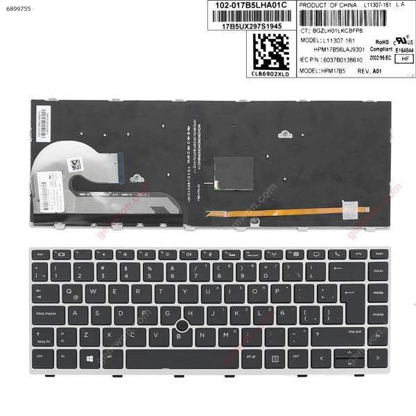 HP EliteBook 840 G5 SILVER FRAME BLACK (with point, Backlit)  LA 6037B0138610 Laptop Keyboard (OEM-A)