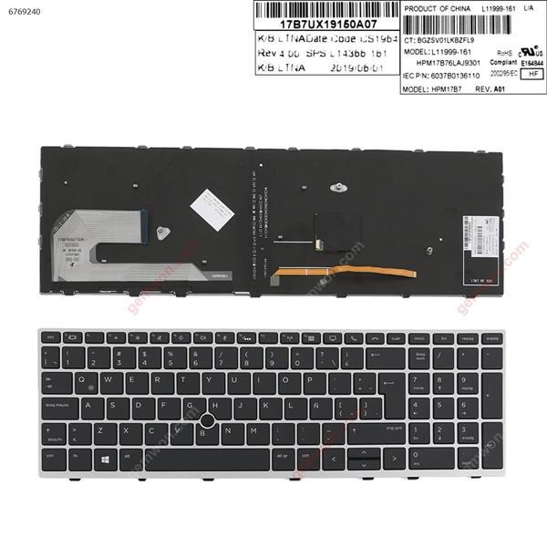 HP EliteBook 850 G5  SILVER FRAME BLACK (Backlit ,  with point )  LA 6037B0136110 Laptop Keyboard (OEM-A)
