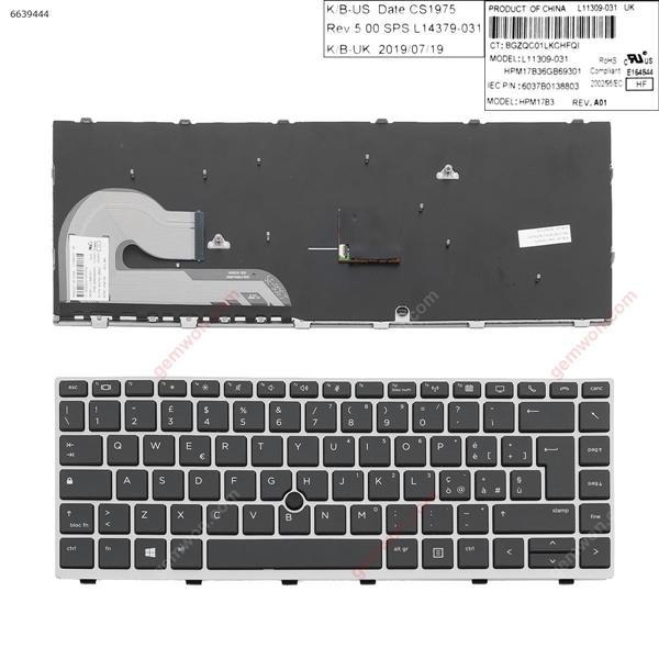 HP EliteBook 840 G5  SILVER FRAME BLACK (with point )  IT 6037B0138806 Laptop Keyboard (OEM-A)