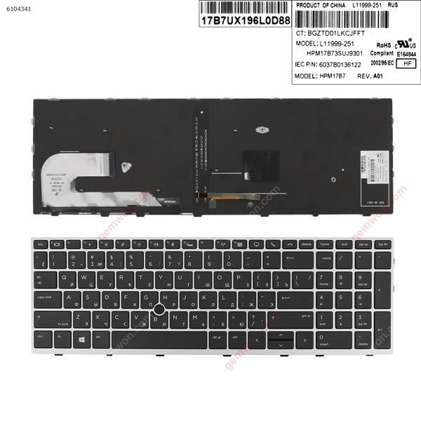 HP EliteBook 850 G5  SILVER FRAME BLACK (Backlit ,  with point )  RU 6037B0136122 Laptop Keyboard (OEM-A)