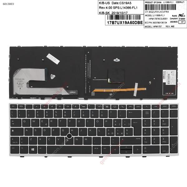 HP EliteBook 850 G5  SILVER FRAME BLACK (Backlit ,  with point )  IT SQNR191CS V162836CK L11999-061 6037B0136106 Laptop Keyboard (OEM-A)