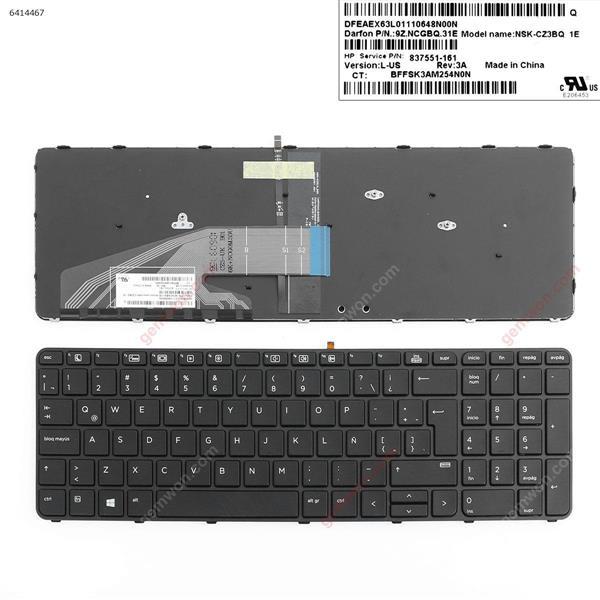 HP ProBook 450 G3 455 G3 470 G3 BLACK FRAME BLACK(Backlit For Win8)  LA 837551-161 Laptop Keyboard (OEM-A)