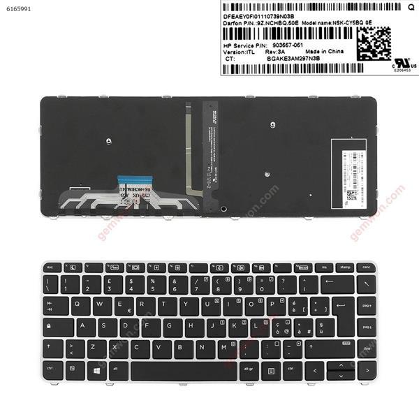 HP EliteBook 1040 G3 SILVER FRAME BLACK ( Backlit,Win8)  IT 818252-061 Laptop Keyboard (OEM-A)