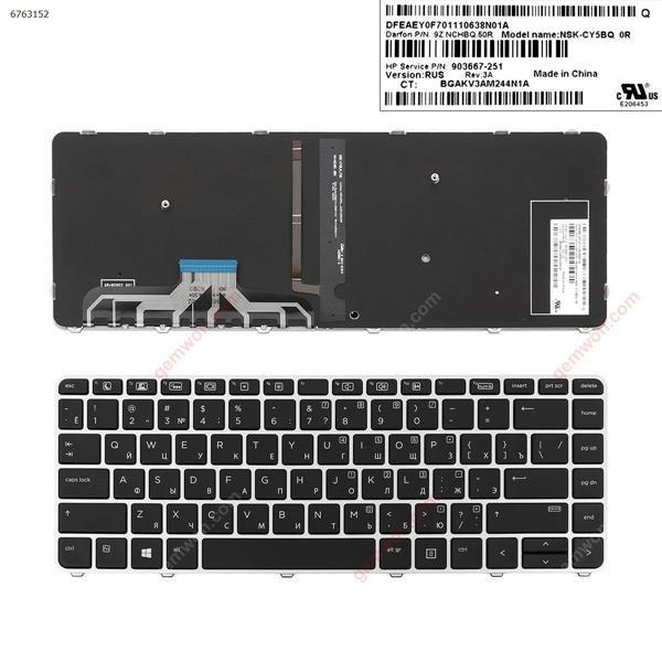 HP EliteBook 1040 G3 SILVER FRAME BLACK ( Backlit,Win8)  RU 903667-251 Laptop Keyboard (OEM-A)