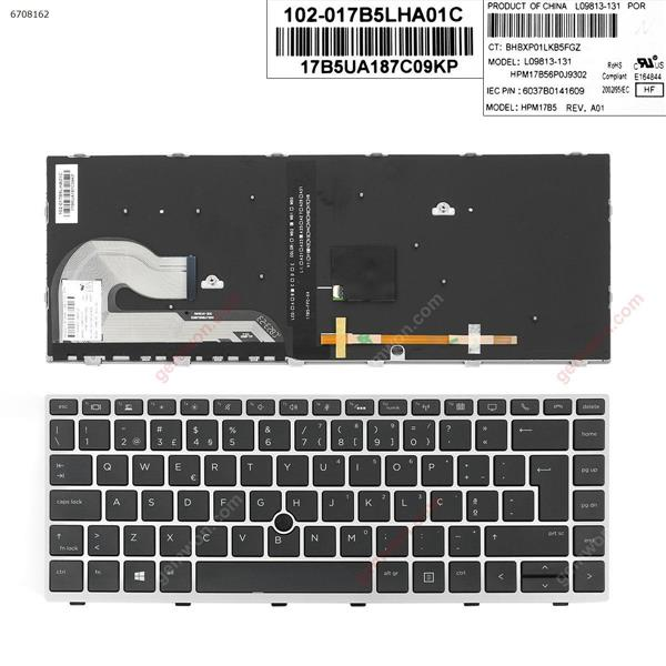 HP EliteBook 840 G5 SILVER FRAME BLACK (with point , Backlit,Win8) PO 6037B0141609 Laptop Keyboard (OEM-A)
