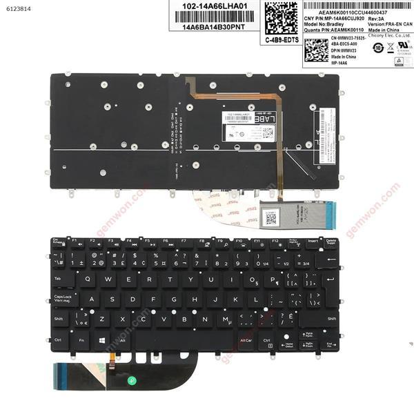 DELL 9343    black  (with  backlit, big enter ) CA/CF 0MWV23 Laptop Keyboard (OEM-A)