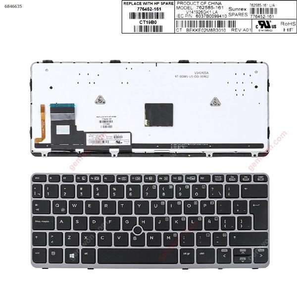 HP EliteBook 820 G1 SILVER FRAME BLACK (Backlit,with point,Win8) LA 6037B0099410 Laptop Keyboard (OEM-A)
