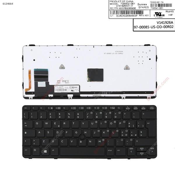 HP EliteBook 820 G1  BLACK FRAME BLACK (Backlit,with point,Win8) IT 6037B0085906 Laptop Keyboard (A+)