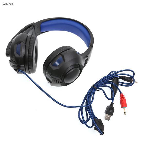 SY885MV light version game esports headset headset Internet cafe headset(Black and blue light) Headset SY885MV