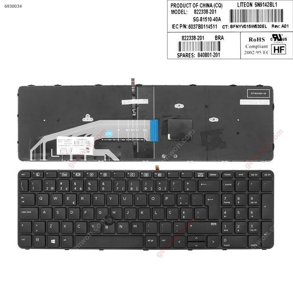HP ProBook 450 G3 455 G3 470 G3 BLACK FRAME BLACK(Backlit  , With Point Stick For Win8)  PO 6037B0114505 Laptop Keyboard (A+)