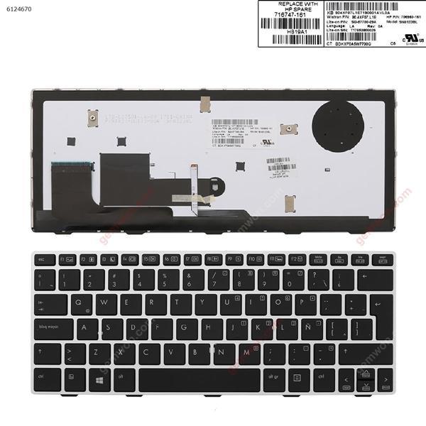 HP EliteBook 810 G1 SILVER FRAME BLACK (Backlit,Win8) LA 90.4XF07.L1E Laptop Keyboard (A+)