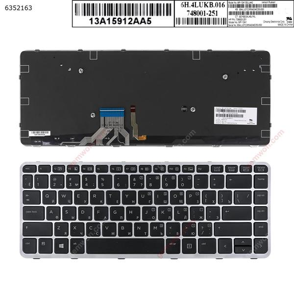 HP EliteBook Folio 1040 G1  SILVER FRAME BLACK (Backlit,Win8)  RU 736933-251 Laptop Keyboard (OEM-A)