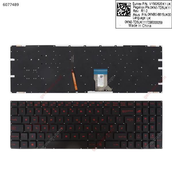Asus GL502  BLACK (Without FRAME,Backlit  ,  red Printing   WIN8)   UK N/A Laptop Keyboard (OEM-A)