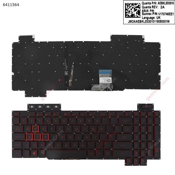 TUF Gaming FX504      BLACK (Without FRAME,Backlit , red Printing WIN8)  UK N/A Laptop Keyboard (OEM-A)