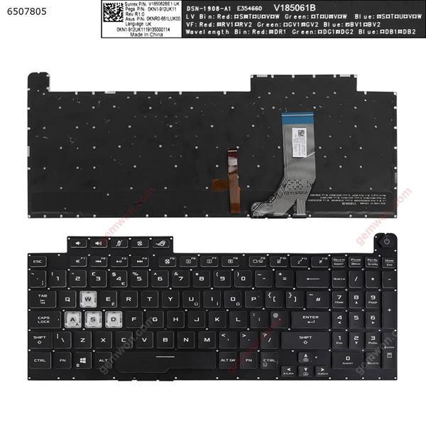Asus G731GT G731GU black (Full Colorful Backlit,Without FRAME,WIN8) UK N/A Laptop Keyboard (OEM-A)