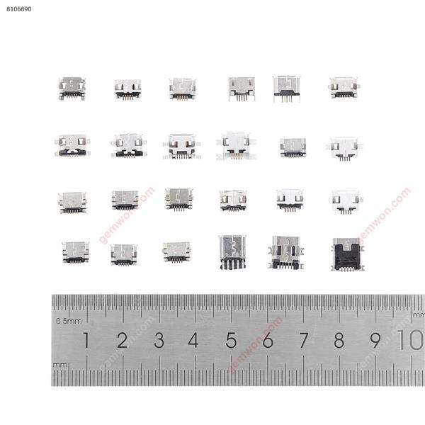 Set of USB connectors for mobile devices, connection set with 24 models of micro size, compatible with MP3/4/5, Lenovo, ZTE, Huawei, Samsung, Xiaomi, HTC, 240 pieces DC Jack/Cord N/A