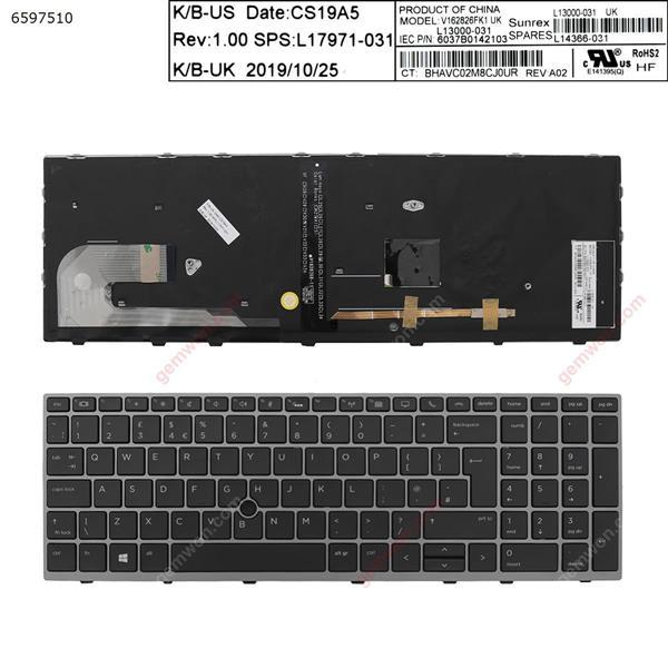 HP EliteBook 850 G5 GRAY FRAME BLACK (Backlit , with point ) UK 6037B0142103 V162826FK1 L13000-031 SQNR191ES Laptop Keyboard (OEM-A)