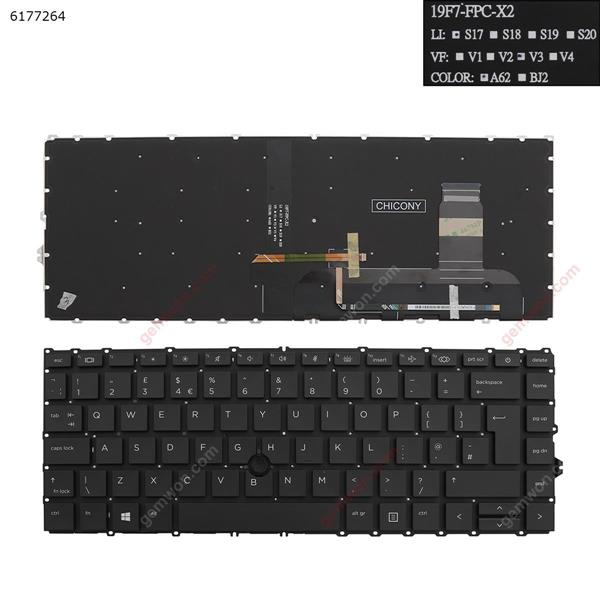 HP EliteBook 840 g7 BLACK ( Backlit , Without FRAME, with point , Win8) UK 57CH0154-L SF-2196 002L19F76LHG01 Laptop Keyboard (A+)