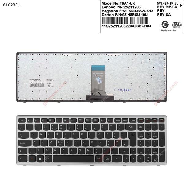 LENOVO U510 SILVER FRAME BLACK(Fro Win8 OS) UK 25205550 25211203 V-13652 0AK0-B62UK13 9Z.N8RSU.10U Laptop Keyboard ( )
