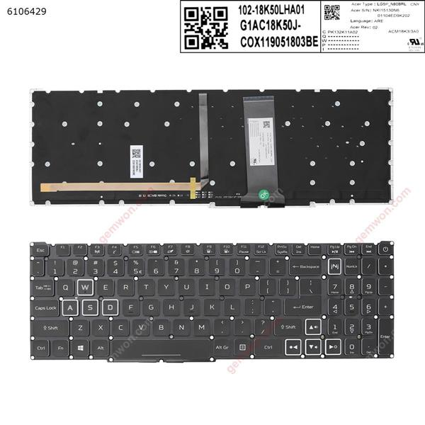 Acer Nitro-4 an515-54 an515-43 an517-51 an715-51 BLACK ((Full Colorful Backlit ,without FRAME ,white  crystal key cap, WIN8 ) US NKI15130N6  LG5P-N90BRL 01104ED9K202 JIT SF-2196 KS 002-18K33LHE01+ 55CH0334 Laptop Keyboard (OEM-A)