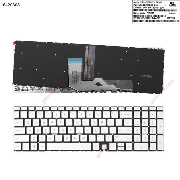 HP Envy 17-cg 17-cgxxx,15 - ED 15-edxxx  SILVER(Backlit ,win8 ) US 4H+NHBOM.OOA 6K+NHBTM.OOA 9Z.NEZSC.E01 PK1328B1B00 Laptop Keyboard (OEM-A)